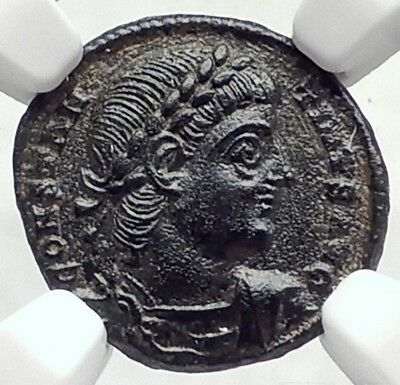 CONSTANTINE II Junior Authentic Ancient 337AD Roman Coin w SOLDIERS NGC i73064