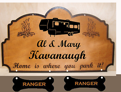 Personalized Wood 3 Signs. Family Name. Any text Camper RV Laser engraved.Gift.