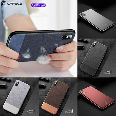 For iPhone 10 X Soft TPU Edge Leather Cloth Texture Anti-slip Phone Case Cover