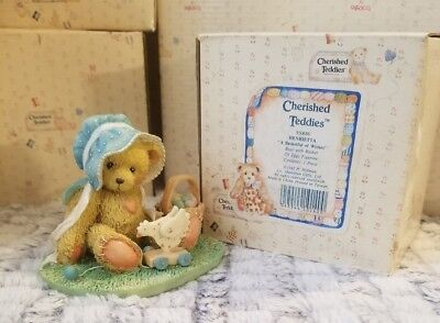 Cherished Teddies Bear Figure 1992 Easter Bonnet Henrietta Basketful of Wishes