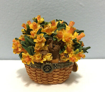 Boyds Beary Blossoms Collection March Trinket Box Daffodils