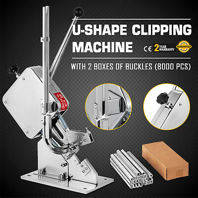 U-shape Sausage Clipping Clipper Machine 2 Boxes Clips Sealing Steel Operation