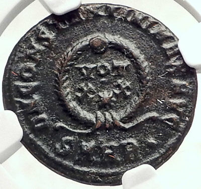 CONSTANTINE I the GREAT Authentic Ancient 321AD Roman Coin w WREATH NGC i73078