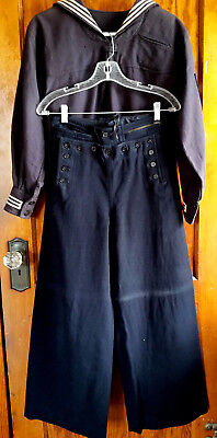 Vintage Military Uniform Navy Wool Dress Blues Costume Small Pants Shirt Collect