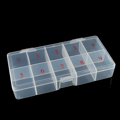 Clear Acrylic Plastic Empty Storage Nail Tips Beads Box Case With 10 Space Wow