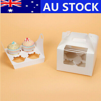 25/50Pcs Cupcake Box Cases White Paper Window Face Gift Packing IN BULK 2/4Holes