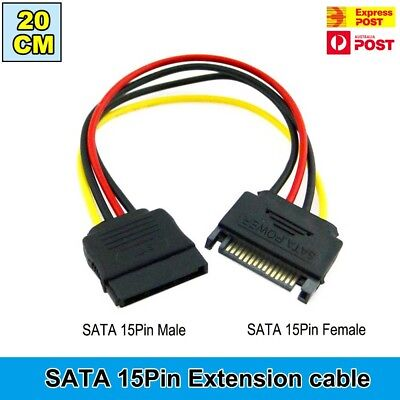20CM SATA 15 pin Power Supply Extension Cable Male to Female Hard Disk Cable AU
