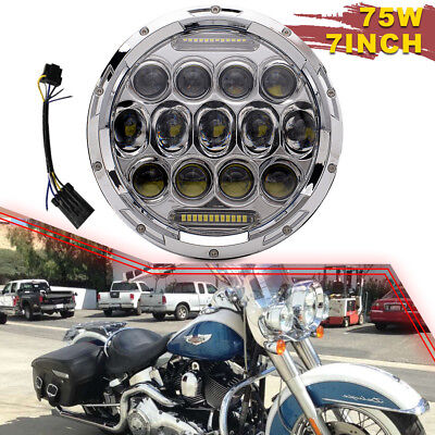 """7"""" DRL LED 60W Headlight Turn Signal Light Projector Fit Harley Electra Glide"""