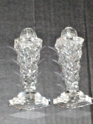 Antique Brilliant grey Cut Crystal Salt Pepper Shakers Footed Glass Tops etched