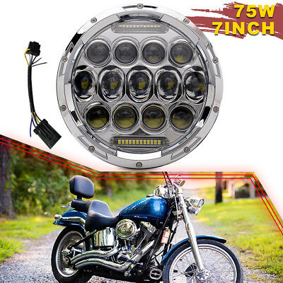 """DRL LED 60W 7""""  Headlight Turn Signal Light Projector Fit Harley Electra Glide"""