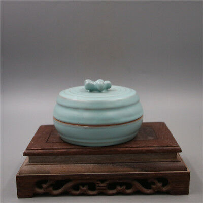 Chinese Old Marked Ru Kiln Sye Green Glaze Porcelain Inkpad Box