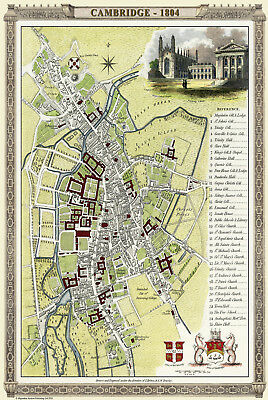 "Old map of Cambridge 1804 by Cole & Roper -  12"" x 9"" Photographic Print"