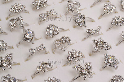 Wholesale Lots 10pcs Woman Crystal CZ Rhinestone Silver Tone Rings Jewelry