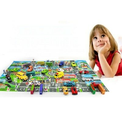 Play Mat for Kids Large Protective Floor Mat Car Track Road Mat With Town Map US