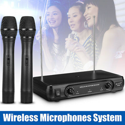 Professional 2Ch VHF Dual Wireless Microphone System Handheld Cordless Mic LCD