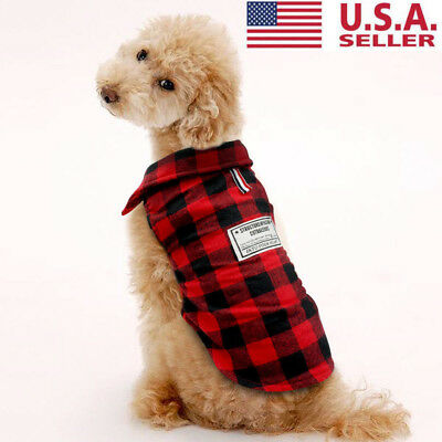 XXL Large Pet Dog Plaid Shirt Coat Removable Hoodie Sweater Winter Warm Clothes