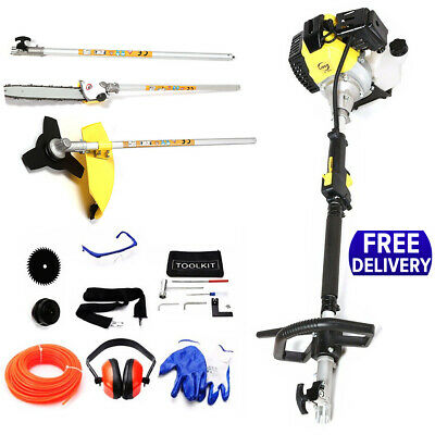 52cc Petrol Hedge Trimmer 5 in 1 Strimmer Chainsaw Brushcutter Garden Tool kits