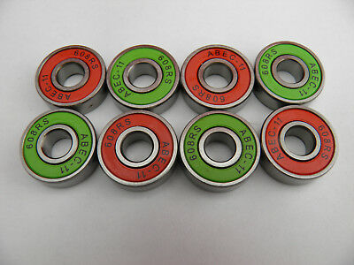 8 x ABEC 11 SKATE BOARD SCOOTER BEARINGS MASHUP RED and GREEN *NEW*