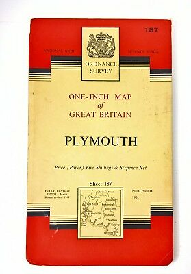 Vintage Ordnance Survey Map 187 1961 Plymouth