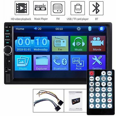 "Double Din Touch Screen Car Stereo 7"" HD MP5 MP3 Player In-dash Bluetooth Radio"