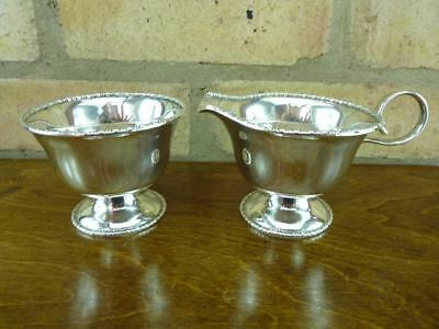 nice Vintage sugar bowl and milk cream jug silver plated EPNS #3