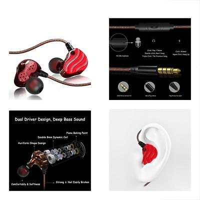 Noise Isolation Workout Music Earbuds,Running Sport Headphones With MIC(Red)