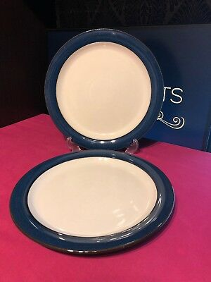 """2 x Denby Blue Boston Dinner Plates 10.5"""" 8 Sets Available"""