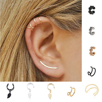1pc Cross Leaf Ear Clip Cuff Wrap Fake Stud Hoop Non Piercing Cartilage Earring