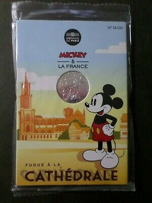 France 2018 Piece Mickey Ode Aux Volcans, 10 Euro Argent, Vf Silver Coin