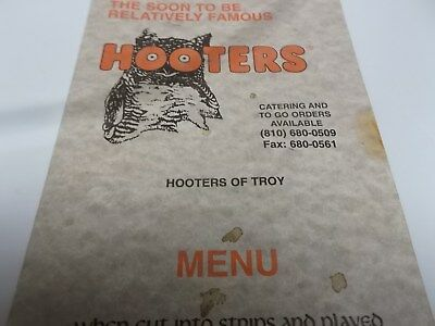 Vintage Original HOOTERS Menu~Hooters of Troy Michigan-From Dec 96~Unsigned~Beer