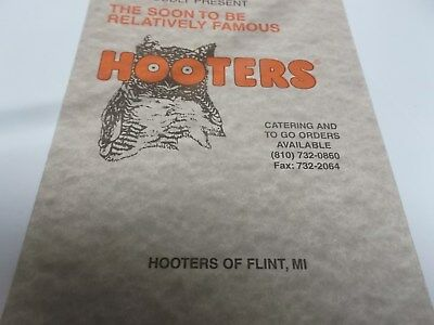 Vintage Original HOOTERS Menu~Hooters of Flint Michigan-From Dec 96~Unsigned~