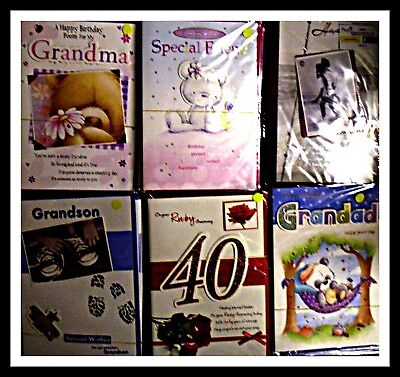 200 Birthday cards-packed in 6s APPROX 12.5p ea+FREE DELIVERY OPEN,RELATIONS,ETC