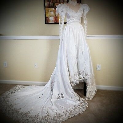 VINTAGE 80s Princess Wedding Gown with Full Train and Veil Custom-Tailored :443