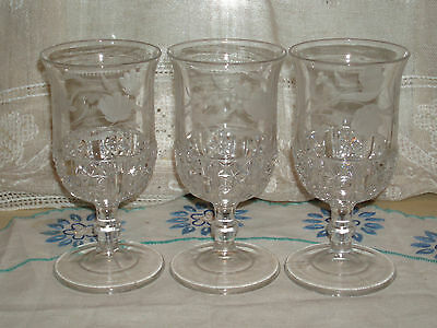 Lot of 3 Antique Victorian EAPG Pressed Glass Etched Goblets Six Panel Finecut