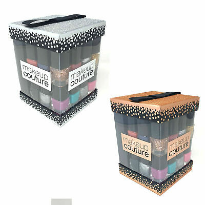 New 12 x Nail Varnish Polish Silver Glitter Cube Make Up Gift Set