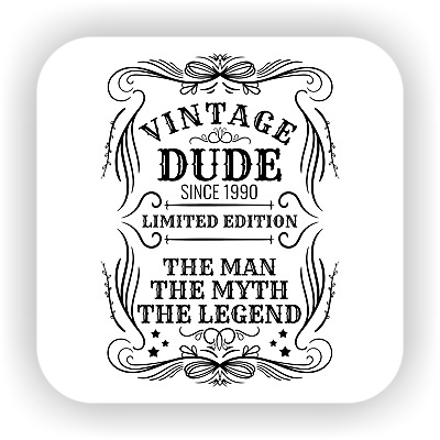Personalized Vintage Dude Funny drink coaster gift Stocking Gift for Dad Grandad