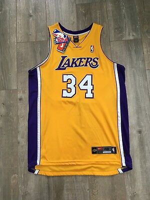 ea7bd2c9bf01 Shaquille O Neal NBA Nike Authentic LA Lakers Home Gold Jersey Shaq 48 XL  2001