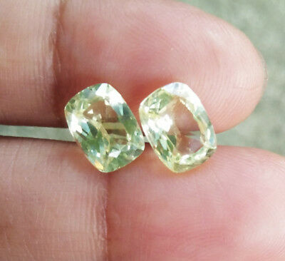 3.40cts. Pair! 2pcs. 8x6mm. GREAT YELLOW SAPPHIRE CUSHION EXCELLENT CUT AAA++