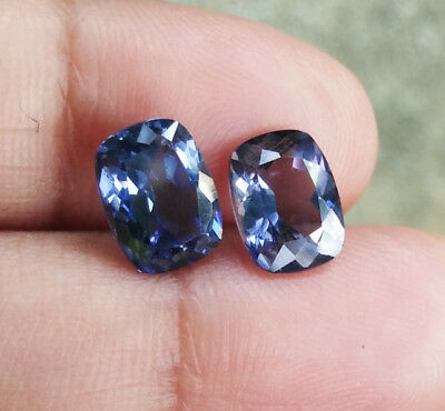 3.30cts. Pair! 2pcs. 8x6mm. GREAT SILVER BLUE SAPPHIRE CUSHION EXCELLENT CUT AAA
