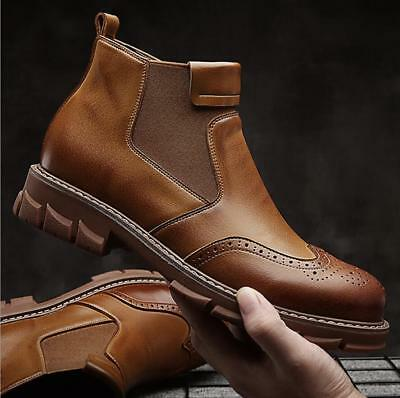 0df34f64cb38bc Mens Leather Pull On Casual Formal Brogue Chelsea Boots Combat Ankle Boots  Shoes