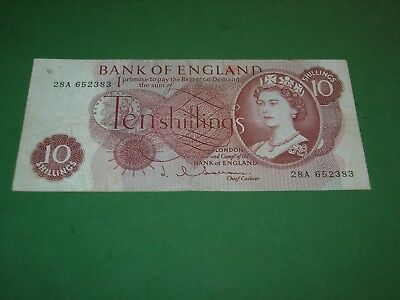 GREAT BRITAIN 1960 10 SHILLING BANKNOTE VERY GOOD CONDITION P-373a