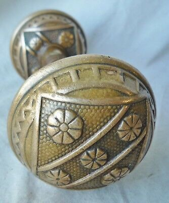 "Door Knobs PAIR Antique CAST BRASS/ BRONZE  Eastlake 2 1/8""d (per set/pair)"