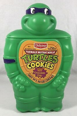 Vtg 1990 Tmnt Delicious Brand Cookie Jar Coin Bank Htf Don Empty Uncut & Clean!
