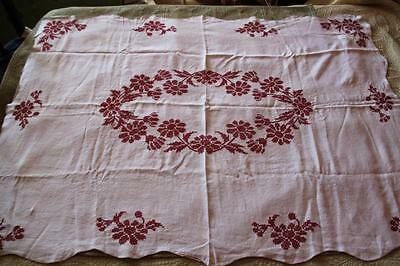 Vintage Linen Cross Stitched Burgundy Floral Tablecloth 64 x 47 Scalloped Edge