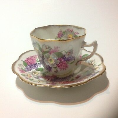 Rosina teacup and saucer Lilacs and Apple Blossoms Gold Trim England