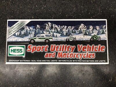 NEW IN BOX Hess Sport Utility Vehicle and 2 Motorcycles (2004 Hess Toy Truck)