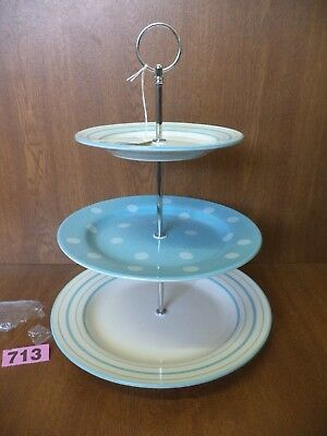 UNUSED Laura Ashley Blue Spots & Stripes - 3 Tier Cup Cake Stand / Plates