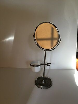 "Vintage 6"" Round Standing Shaving or Makeup Mirror with glass cup"
