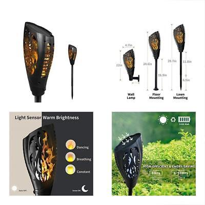 Petrala Solar Torches Torch Lights Outdoor 3 Modes Dancing Flames Decorative For