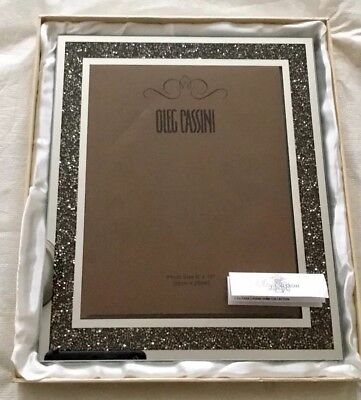 Oleg Cassini Picture Frame Crystal Hematite 8x 10 W Box Wedding
